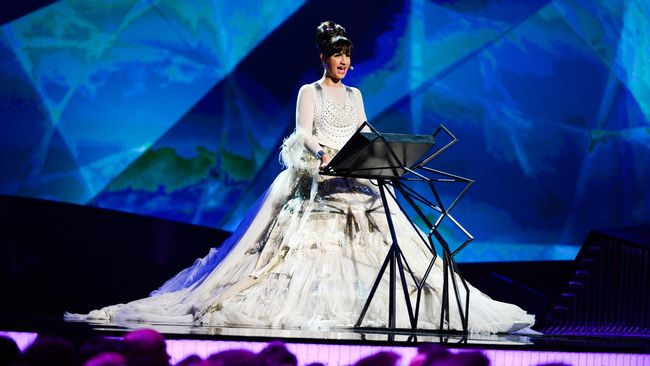 Petra Mede wearing a Jean-Paul Gaultier design while presenting Eurovision 2013